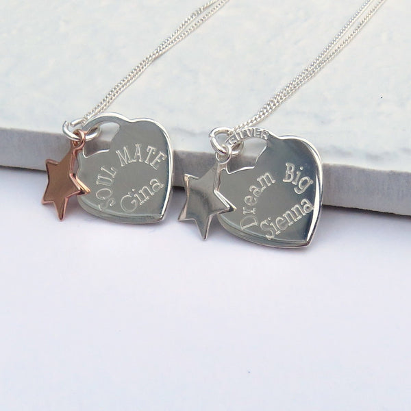 Stunning Personalised Rockwell Necklace Heart Tag