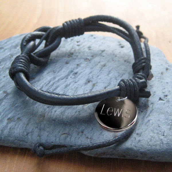 Men's Real Leather Personal Knot Bracelet