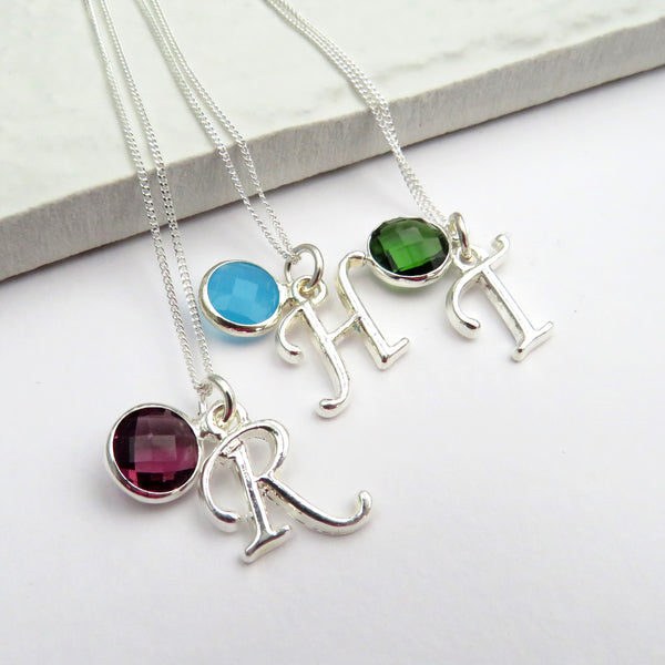 Personal Sterling Silver Birth Gemstone Necklace