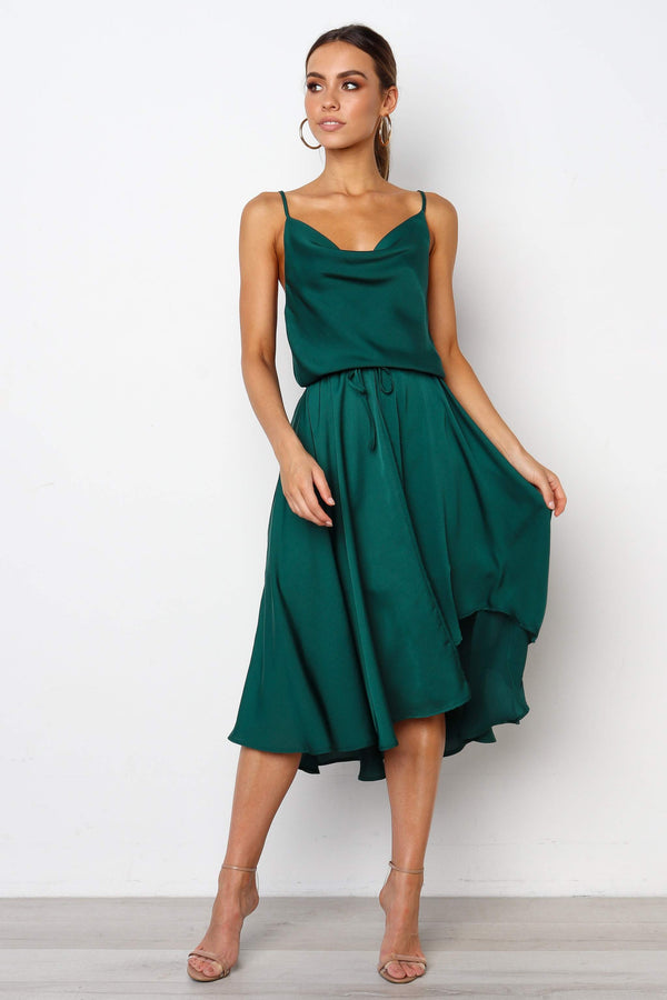 Plain Satin Dip Hem Cowl Neck Cami Dress
