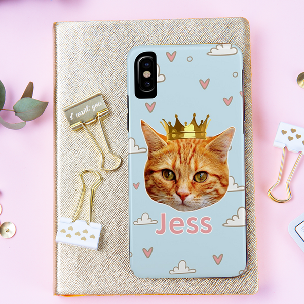 Cat Face and Name Phone Case