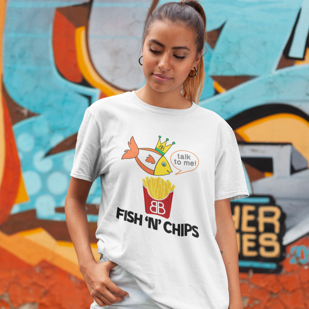 93e9551561c7f4 Your Personalised Initial Billion Brand Fish and Chips Unisex Tee –  Happarray