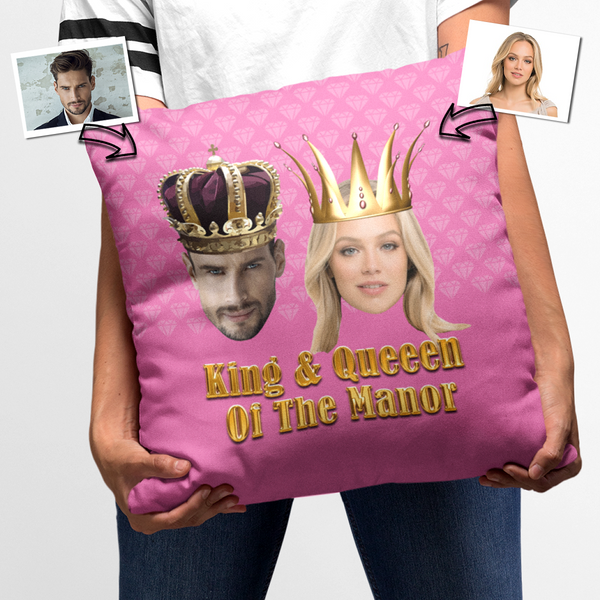 King and Queen Of The Manor Personalised Faux Suede Square