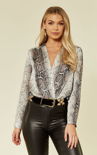 Animal Snake Skin Long Sleeve Wrap Bodysuit