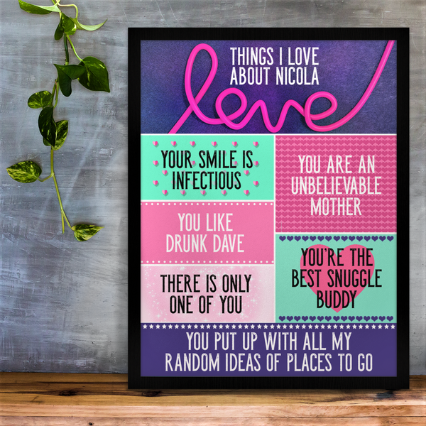 Personalised Things I love About You Print