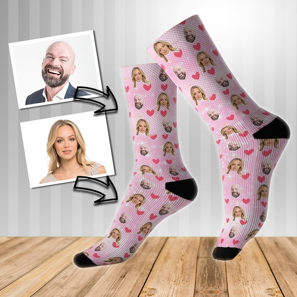 Loved Up Personalised Face Socks Pink sparkle