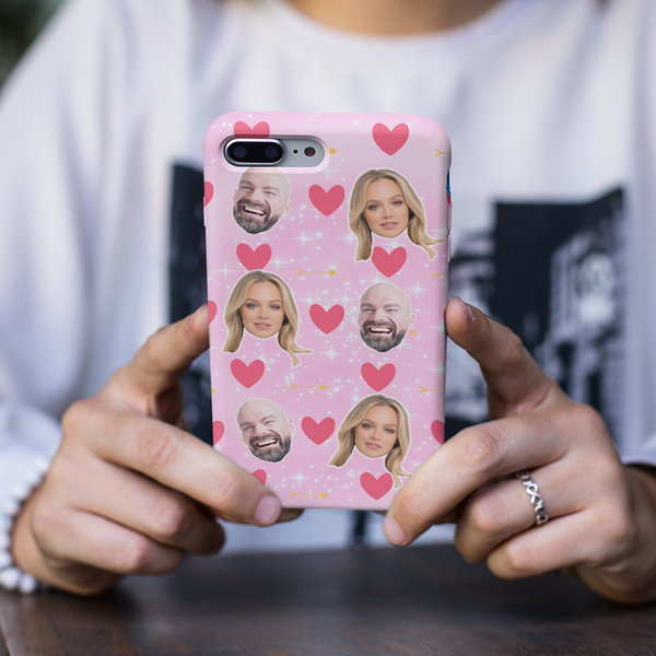 Loved Up Personalised Photos Pink Phone Case