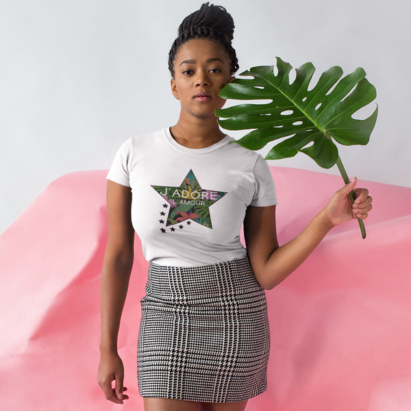 J'Adore L'Amour Tropical Star Cotton T-Shirt