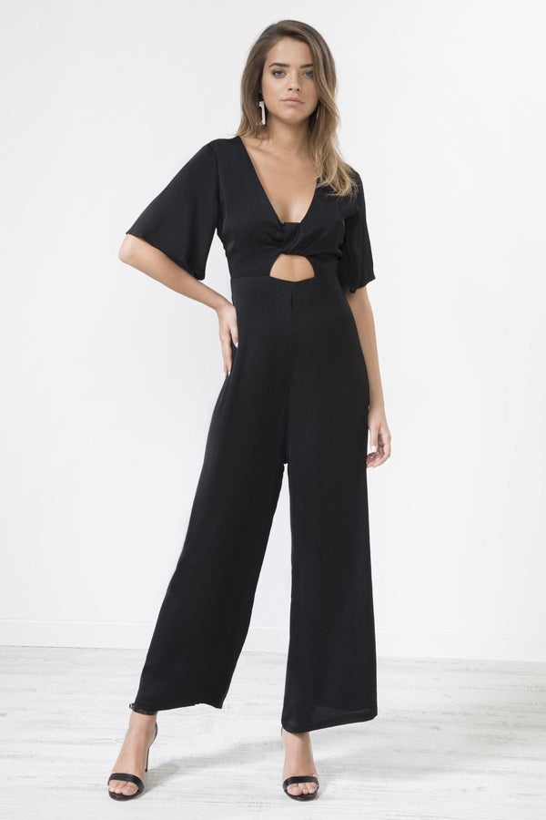 BLACK SATIN KNOT FRONT JUMPSUIT