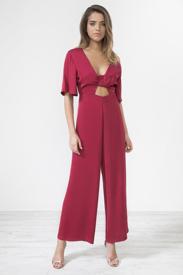RED SATIN KNOT FRONT JUMPSUIT