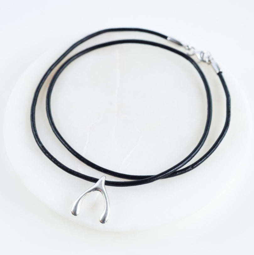 Wishbone Leather Necklace