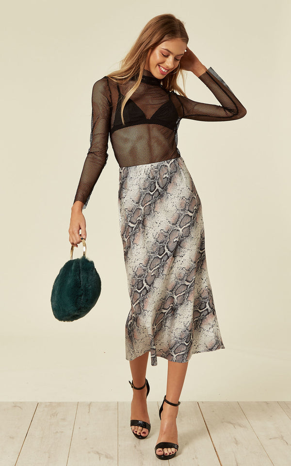 Satin Animal Snake Print Midi Slip Skirt