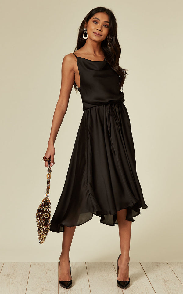 Cowl Neck Satin Dip Hem Dress Black