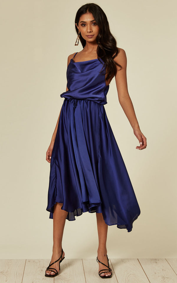 Cowl Neck Satin Dip Hem Dress Sax Blue