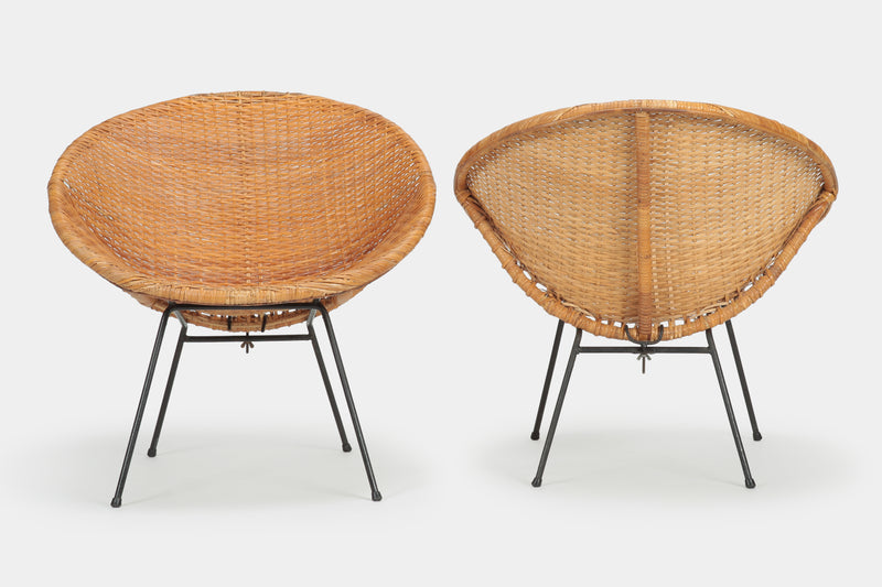 2 Runde Rattan Circle Chairs 50er