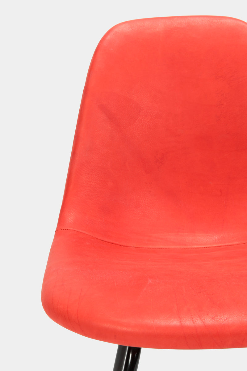 Eames Side Chair Red Leather, 60s