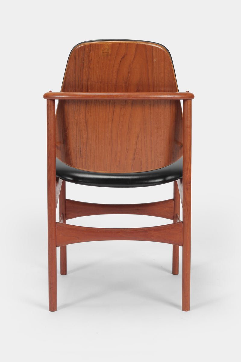 Set with 6 chairs Arne Hovmand-Olsen 50s teak leather