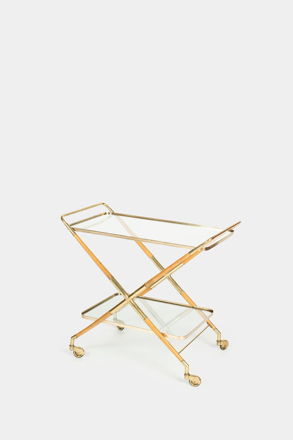 Cesare Lacca serving trolley made of brass and pear tree, 50s