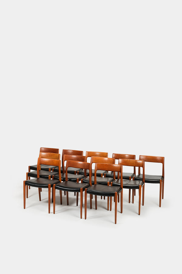 12 Nils Moeller Nr 77 Set with 12 leather and Teak, Denmark, 60s