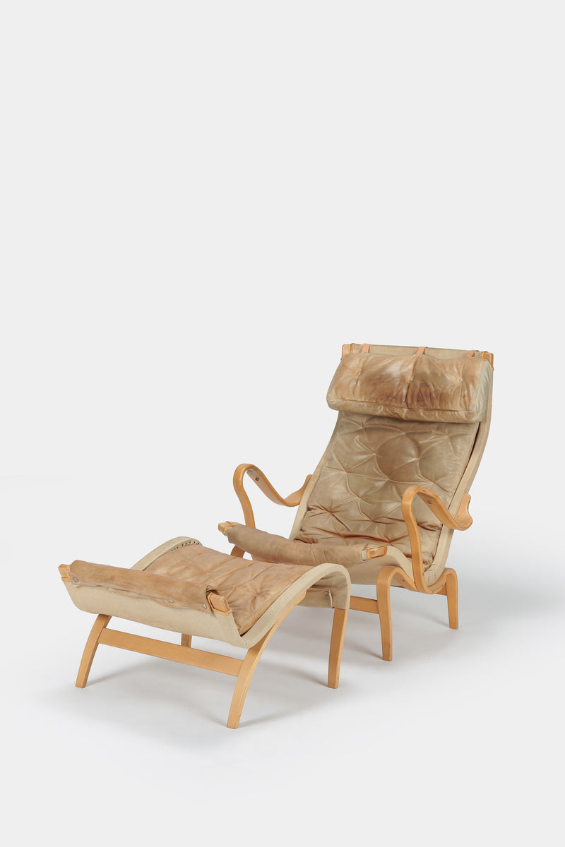Bruno Mathsson Pernilla Armchair with Ottoman Leather
