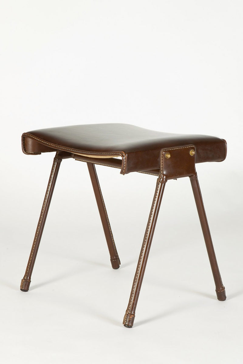 Jacques Adnet Leder Hocker  von Jacques Adnet