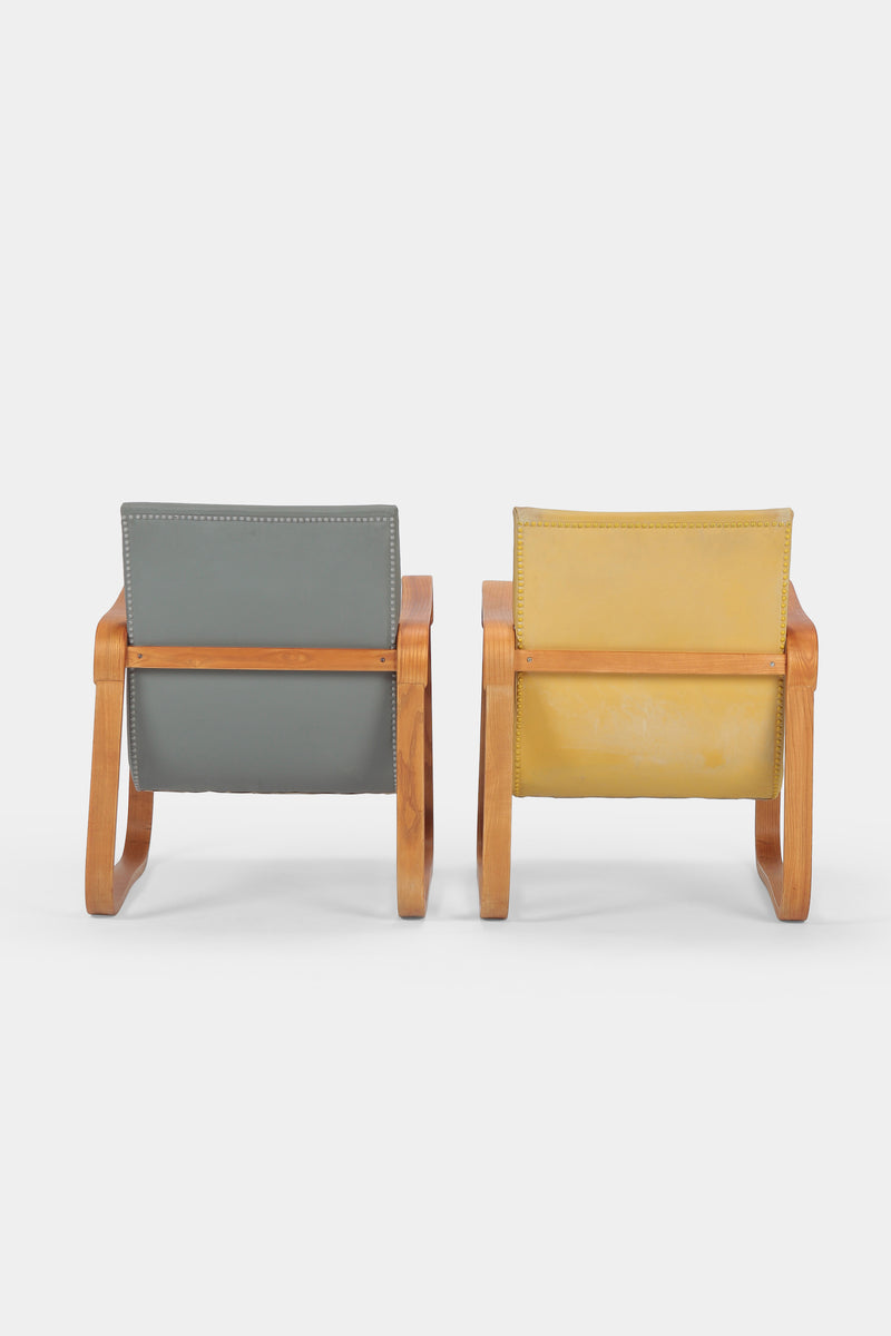 2 Walter Frey Heinzer armchairs yellow and grey, 30s