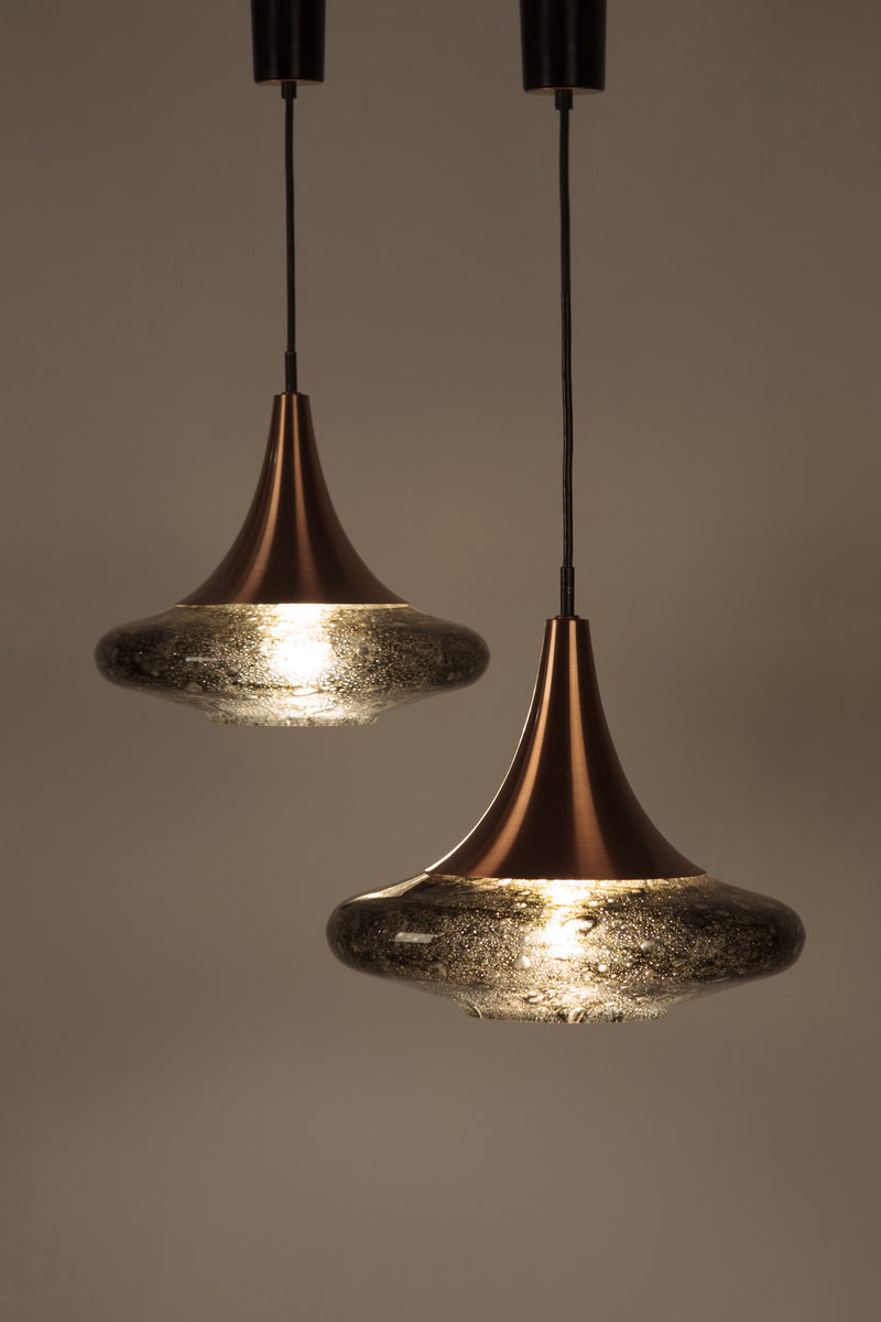 2 beautiful Doria glass lamps with copper