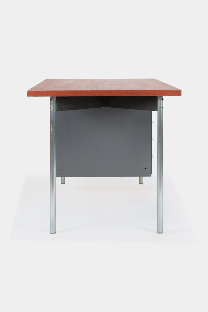 Teak Formica tubular steel desk 60s