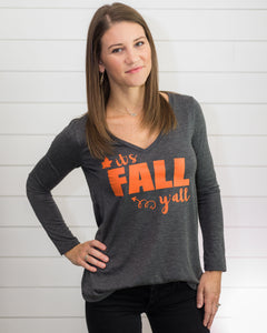 Fall Y'all (Gray Long Sleeve V-Neck)