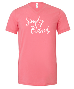 Simply Blessed *NEW* (Pink V-Neck)