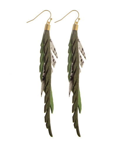 HAZE Long Feather Print Earrings