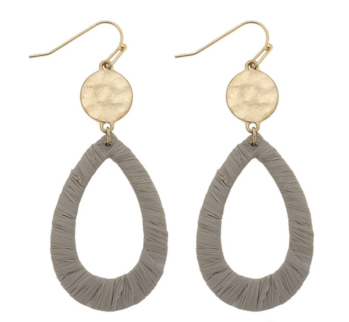ABA Raffia Teardrop Earrings