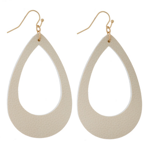 Teardrop Cutout Earrings (White)