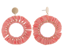 Load image into Gallery viewer, LU Raffia Hoop Earrings