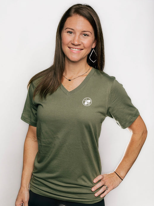 Buzz World Logo (Olive V-Neck)