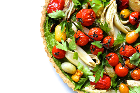 FESTIVE ROASTED VEGETABLE AND PESTO TART