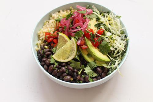 WEEKLY NOURISHING BOWL: SPICED BLACK BEAN BURRITO BOWL WITH BROWN RICE, AVOCADO, FRESH TOMATO SALSA + PICKLED ONIONS