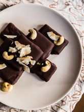 Load image into Gallery viewer, CHEWY CARAMEL, COCONUT + PUMPKIN SEED CHOCOLATE BARS