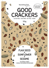 Load image into Gallery viewer, GOOD CRACKERS: FLAXSEED, SUNFLOWER + SESAME 125g
