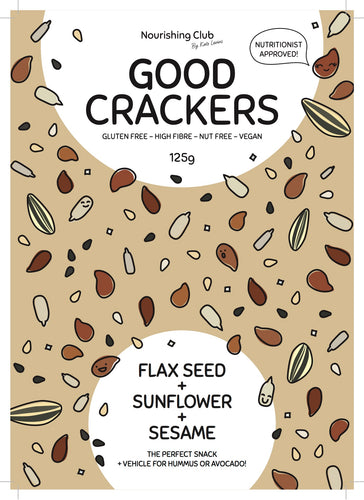 GOOD CRACKERS: FLAXSEED, SUNFLOWER + SESAME 125g
