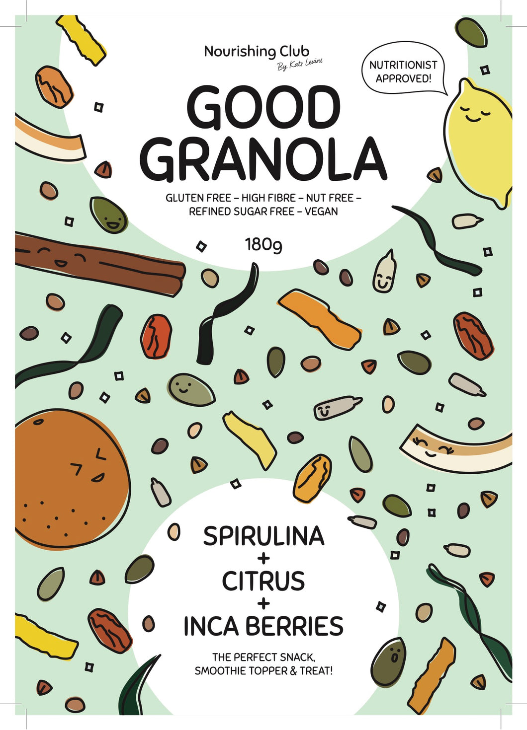 GOOD GRANOLA: SPIRULINA, CITRUS + INCABERRY 180g