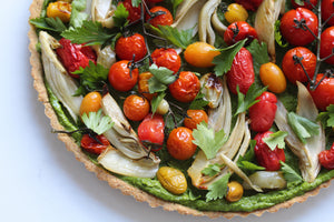 ROASTED VEGETABLE + PESTO CELEBRATION TART