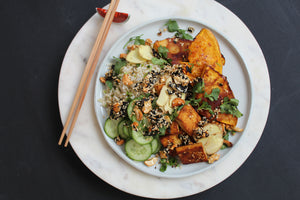 WEEKLY NOURISHING BOWL: MISO ROASTED PUMPKIN + TOFU BOWL WITH BROWN RICE, GREENS, PICKLED GINGER + CASHEW/SESAME/SEAWEED CRISPY DELICIOUS THINGS
