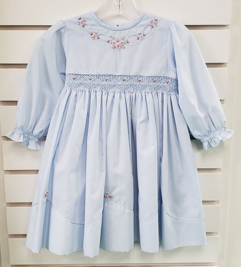 Girls L/S Embroidered Dress w/Smocking