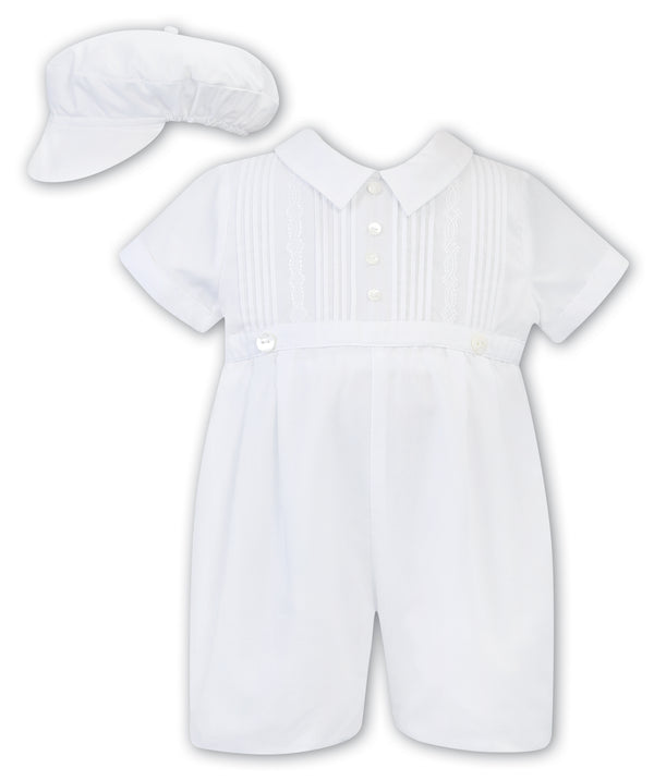 2 Piece Boys Christening Romper w/Hat