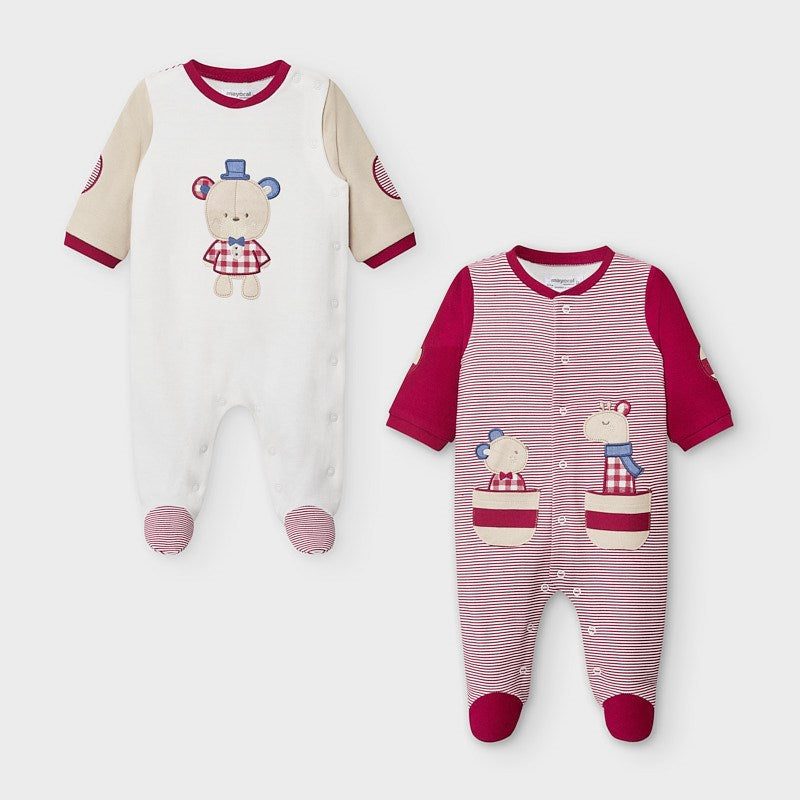 Boys Bear Applique Front Footie