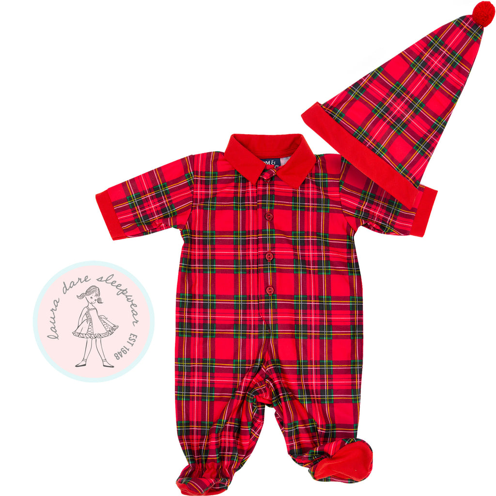 2 Piece Boys Plaid Sleeper w/Cap