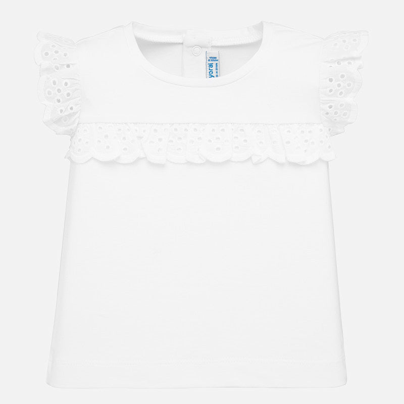 Girls Raglan Sleeve Eyelet Lace Accent Top