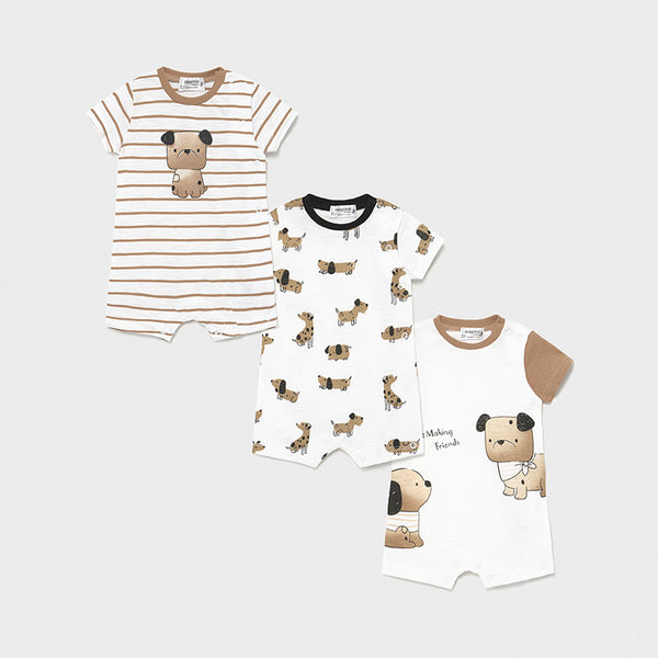 Boys Striped Puppy Short Romper