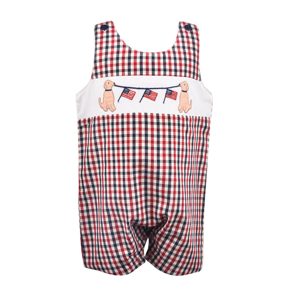 Boys Gingham Flag Short Romper